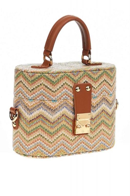 سترو حقيبة يد في شكل مربع مع أنماط (البيج)