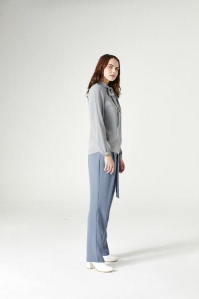 MIZALLE - Halter-Neck Blouse (Grey) (1)