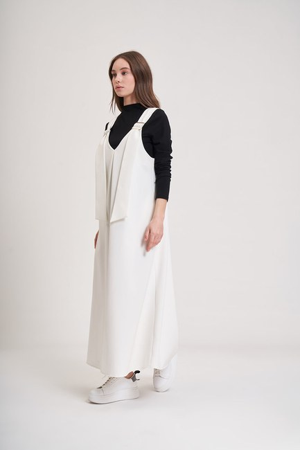 MIZALLE YOUTH - Buckle Gilet Dress (Ecru) (1)