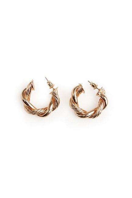 MIZALLE - Twirl Ring Shaped Earrings (Gold) (1)