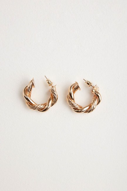 MIZALLE - Twirl Ring Shaped Earrings (Yellow) (1)