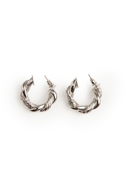 MIZALLE - Twirl Ring Shaped Earrings (Silver) (1)