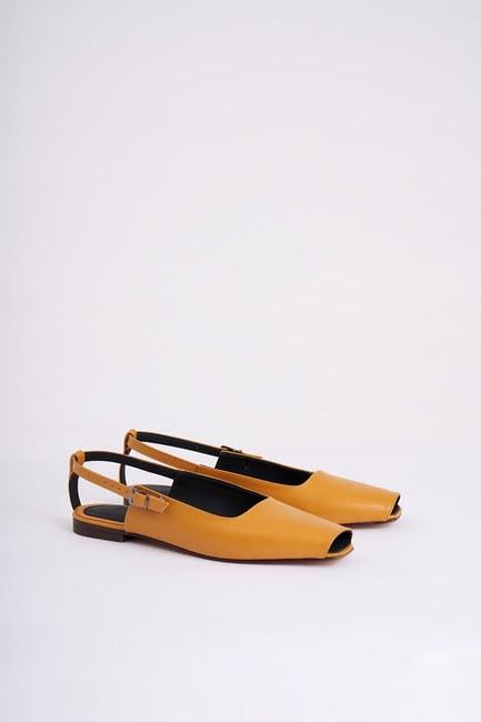 Burnu Açık Ayakkabı (Hardal) - Thumbnail