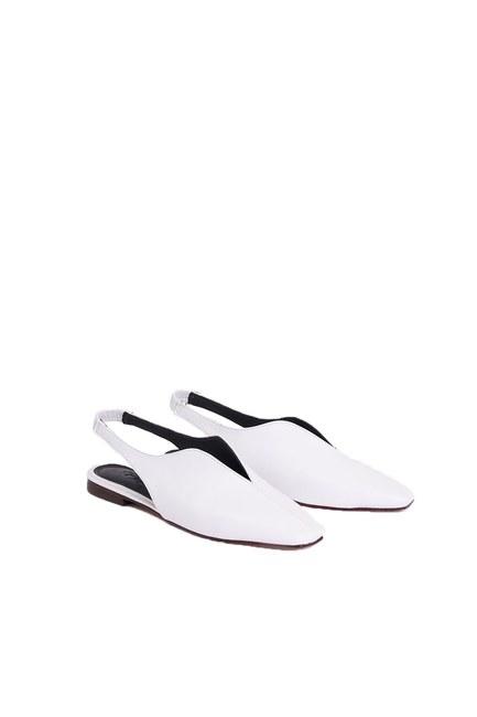 Mizalle - Burnu Kapalı Ayakkabı (Beyaz)