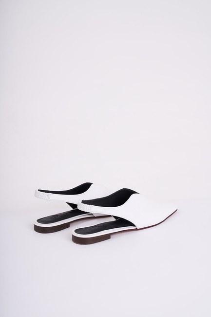 MIZALLE - Burnu Kapalı Ayakkabı (Beyaz) (1)