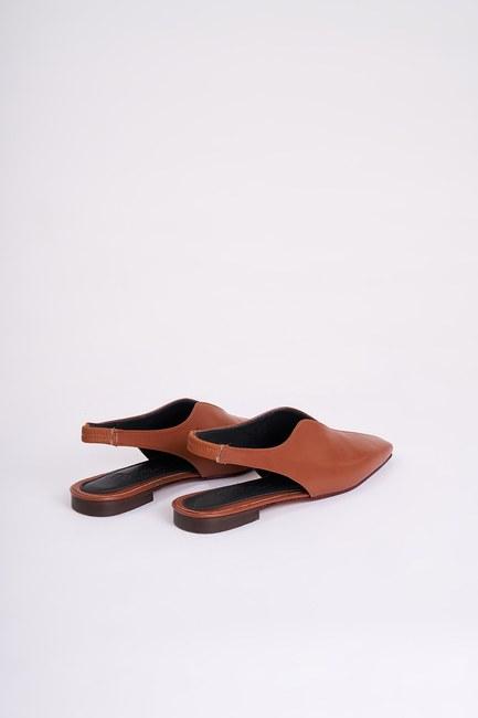 MIZALLE - Burnu Kapalı Ayakkabı (Taba) (1)