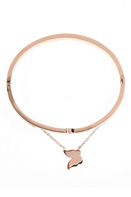 Butterfly Detailed Steel Bracelet (St) - Thumbnail