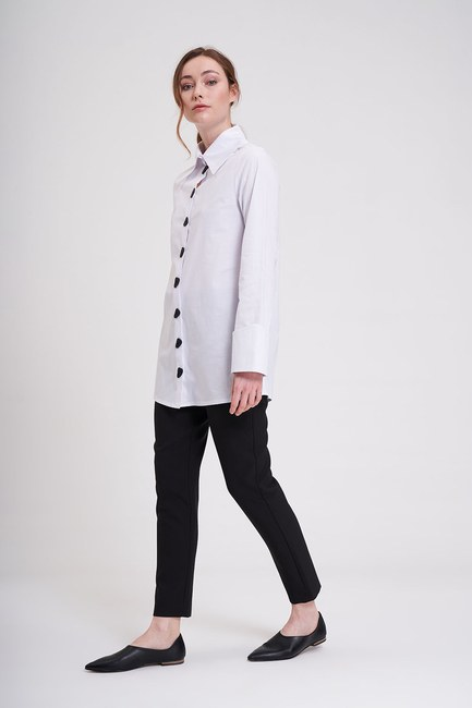 MIZALLE - Button Detailed Tunic Shirt (White) (1)