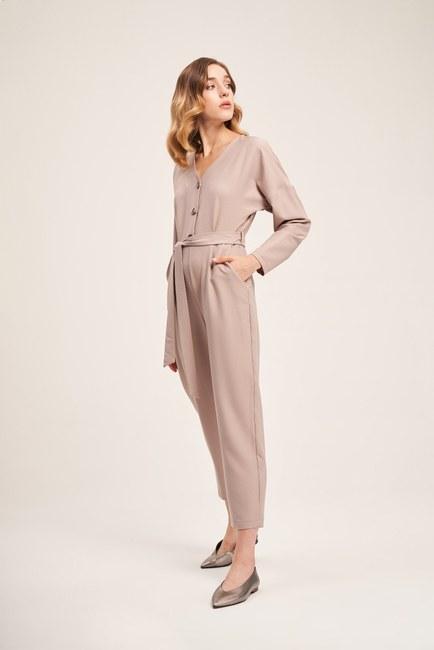 MIZALLE - Buttoned Crepe Jumpsuit (Beige) (1)