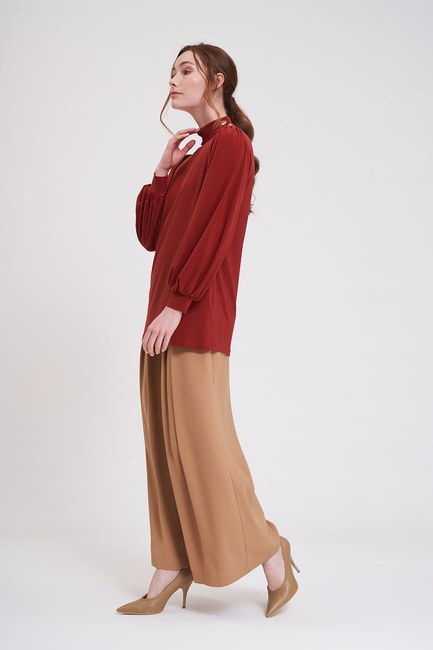 Mizalle - Buttoned Sandy Blouse (Brick Red) (1)