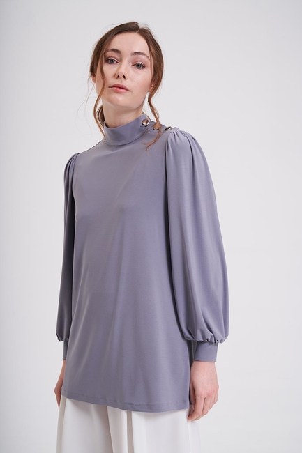 Mizalle - Buttoned Sandy Blouse (Grey) (1)