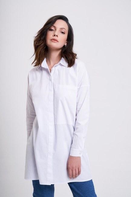 Büyük Cepli Beyaz Tunik Gömlek - Thumbnail