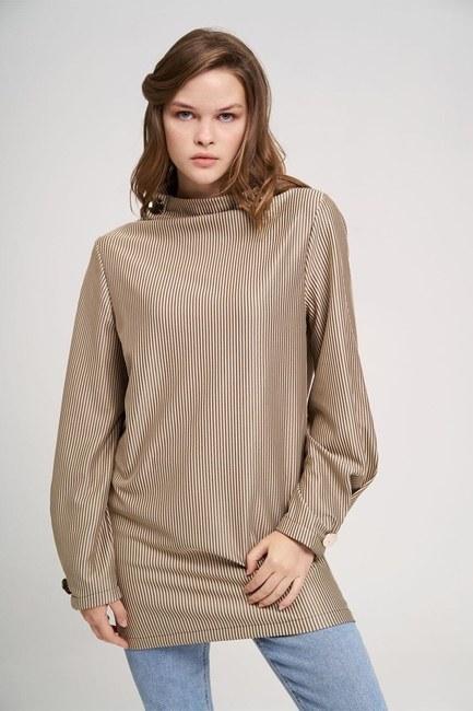 MIZALLE YOUTH - Big Buttoned Sweatshirt (Beige) (1)