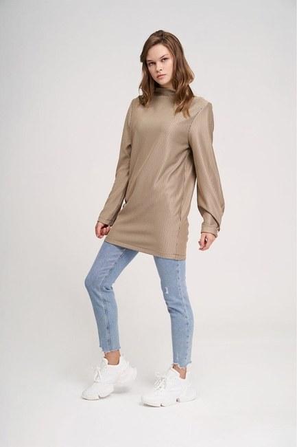 Büyük Düğmeli Sweatshirt (Bej) - Thumbnail