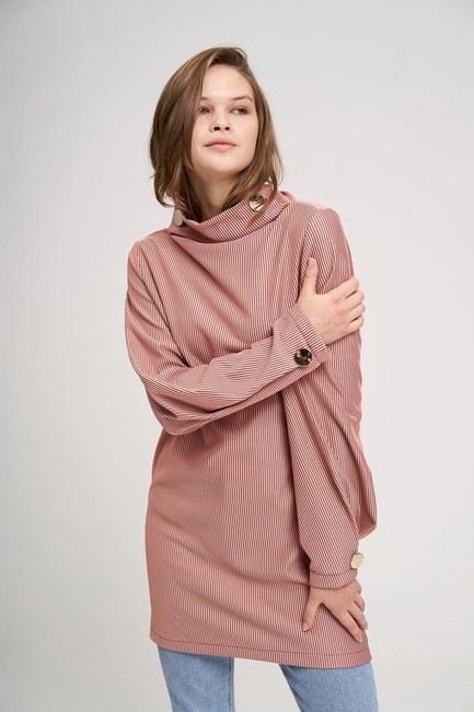 Büyük Düğmeli Sweatshirt (Gül Kurusu) - Thumbnail