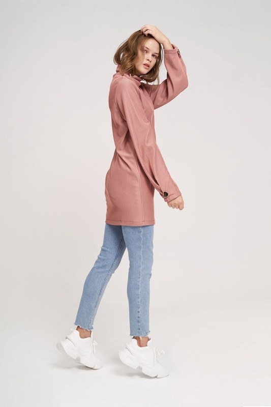 Büyük Düğmeli Sweatshirt (Gül Kurusu)