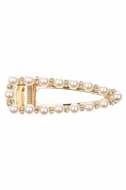 Pearl Detail Snap Buttons Hair Clips (St) - Thumbnail