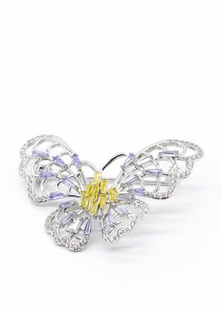 Büyük Kelebek Broş (Gri) - Thumbnail