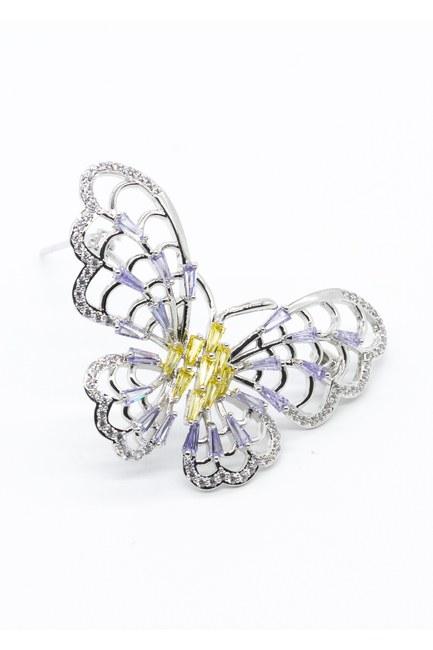 MIZALLE - Büyük Kelebek Broş (Gri) (1)