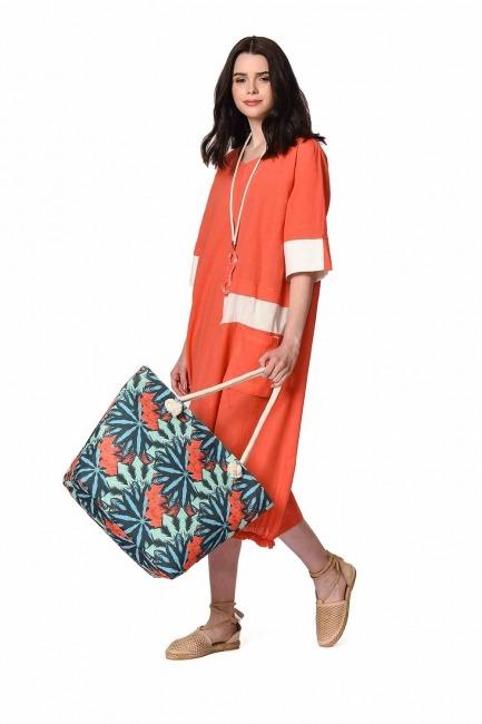 MIZALLE حقيبة الشاطئ الكبيرة (زهرة)