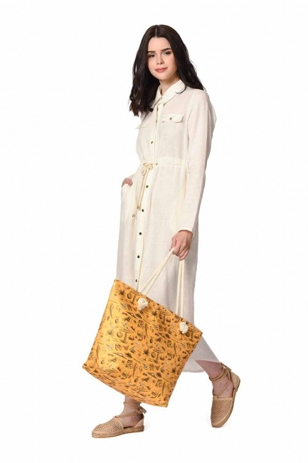 MIZALLE Large Beach Bag (Yellow)