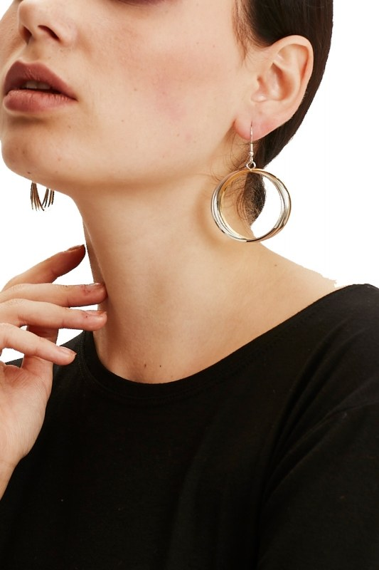 Big Spiral Hoop Earrings (Silver)