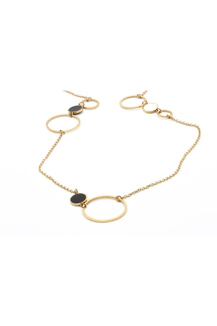 MIZALLE - Large Chain Steel Necklace (Yellow) (1)