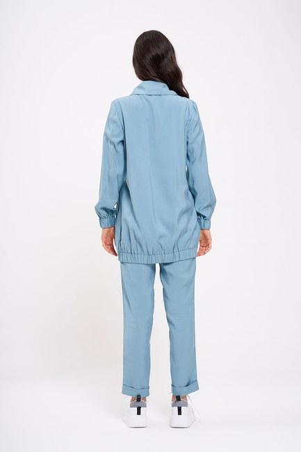 Büzgü Detaylı Ceket (Mint) - Thumbnail