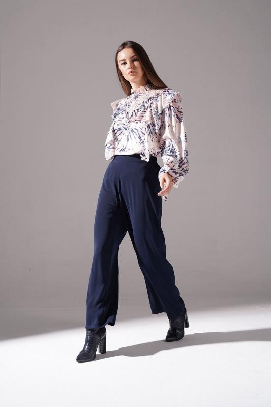 Büzgü Detaylı Geniş Pantolon (Lacivert)
