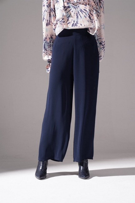 Büzgü Detaylı Geniş Pantolon (Lacivert) - Thumbnail