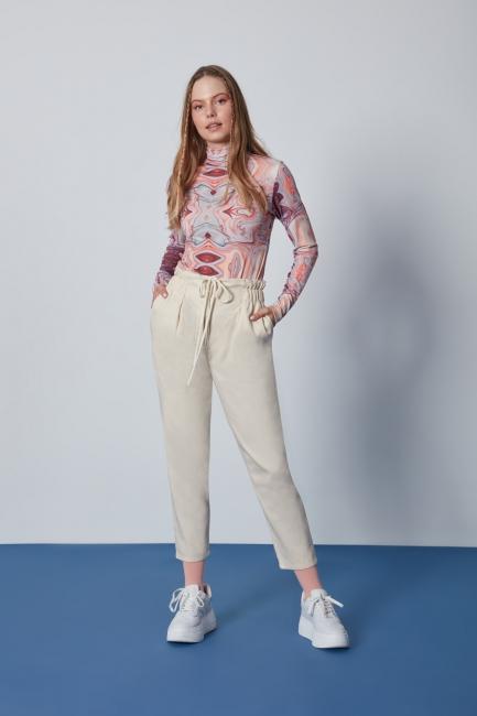 Mizalle - Pamuklu Paperbag Bej Pantolon