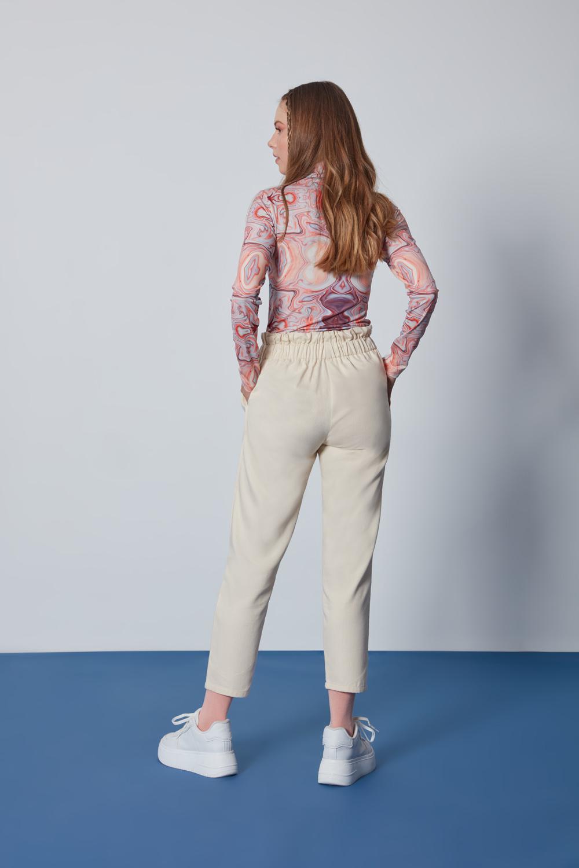 Pamuklu Paperbag Bej Pantolon