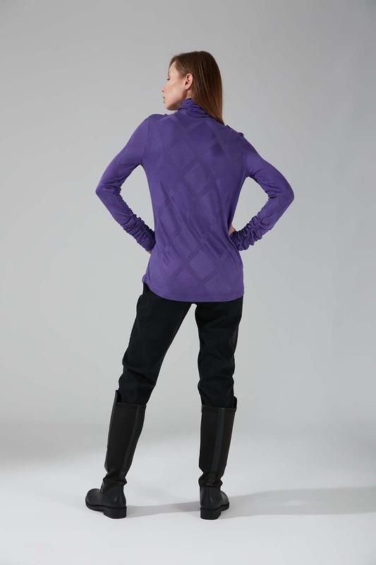 Büzgü Yakalı Desenli Bluz (Mor)