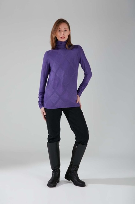 Mizalle - Büzgü Yakalı Desenli Bluz (Mor)