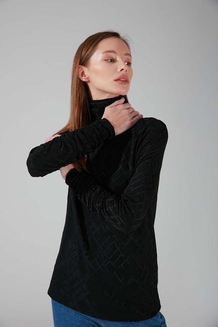 Büzgü Yakalı Desenli Bluz (Siyah) - Thumbnail