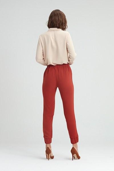 Paçası Büzgülü Pantolon (Kiremit) - Thumbnail