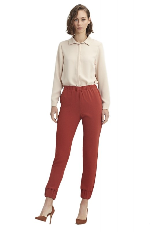 Ruched Trousers (Brick Red)