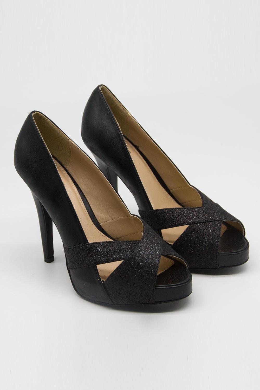Çapraz Bant Topuklu Ayakkabı (Simli Siyah)