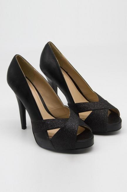 Mizalle - Çapraz Bant Topuklu Ayakkabı (Simli Siyah)
