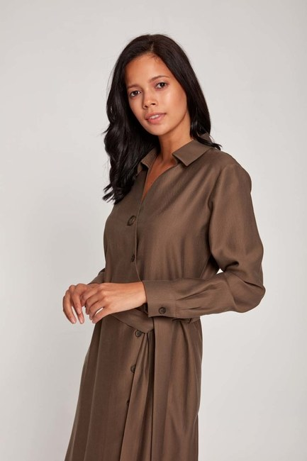 MIZALLE - Cross Button Dress (Khaki) (1)