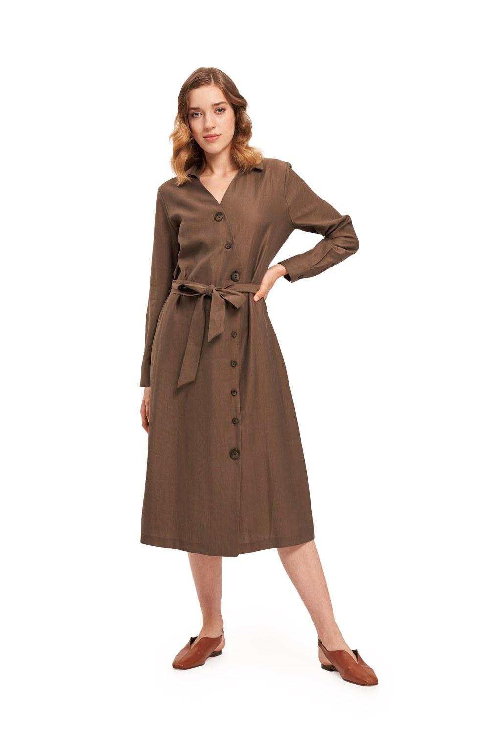 Çapraz Düğmeli Haki Elbise