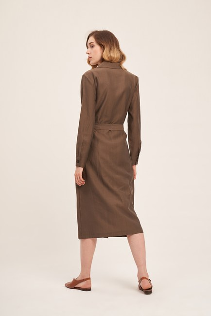 Çapraz Düğmeli Elbise (Haki) - Thumbnail