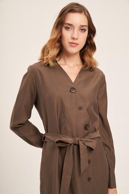 Mizalle - Çapraz Düğmeli Elbise (Haki)