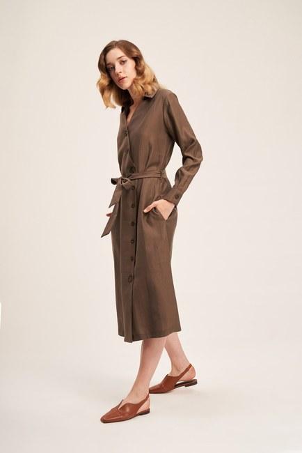 MIZALLE - Çapraz Düğmeli Elbise (Haki) (1)