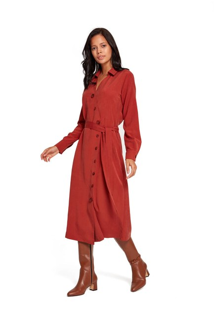 فستان بنمط متقاطع (قرميد احمر) - Thumbnail
