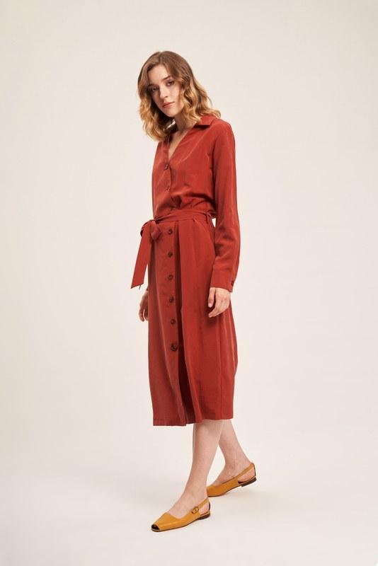 Çapraz Düğmeli Kiremit Elbise