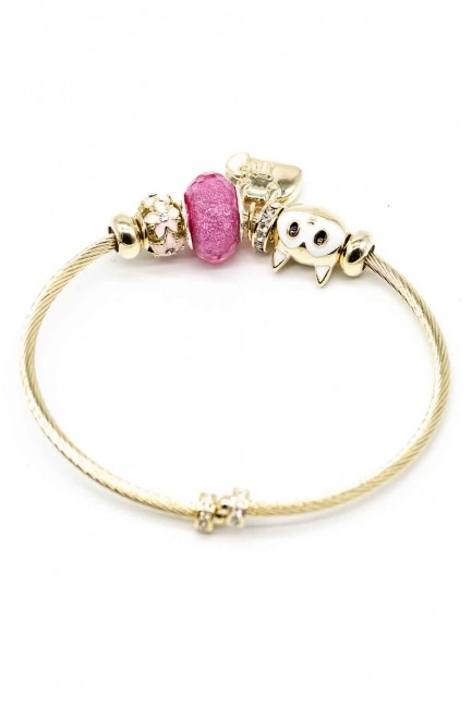 MIZALLE - Cat Shaped Bracelet (Pink) (1)