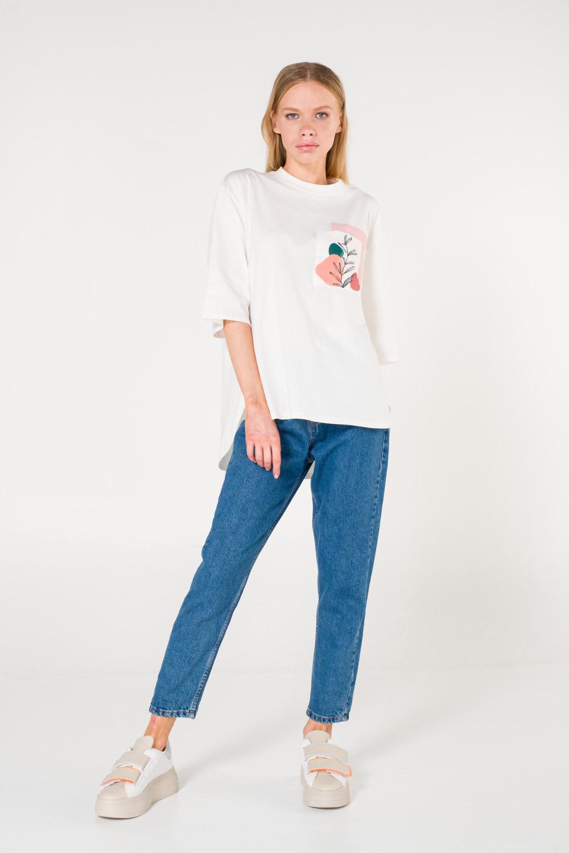 Cep Baskılı Beyaz T-shirt