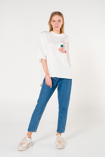 Mizalle - Cep Baskılı Beyaz T-shirt