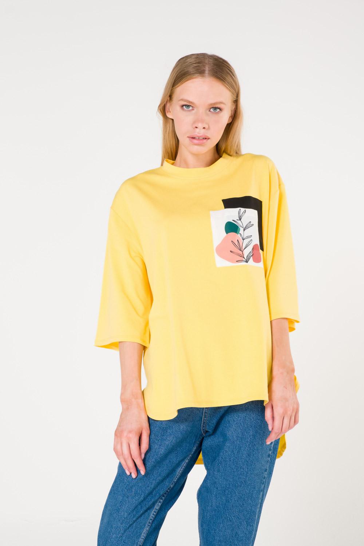 Cep Baskılı Sarı T-shirt